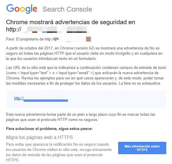 la notificacion que google envia a las webs sin https